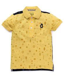 Gini & Jony Half Sleeves T-Shirt Multi Print - Yellow