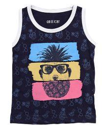 Gini & Jony Sleeveless T-Shirt Pineapple Print - Blue