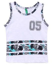 Palm Tree Sleeveless Vest Number 5 Print - Bright White