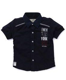 Palm Tree Printed Shirt - Navy Blue