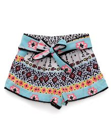 Gini & Jony Printed Shorts Tie Bow Detail - Multicolor