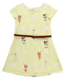 Palm Tree Short Sleeves Printed Frock With Waist Belt - Yellow