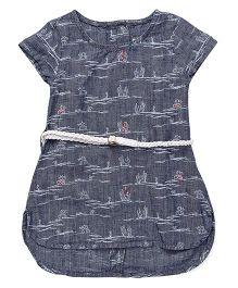 Gini & Jony Short Sleeves Frock With Waist Belt - Greyish Blue