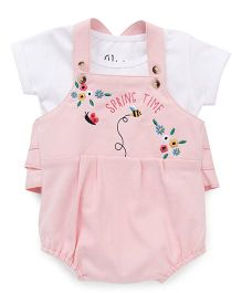 Gj Baby Dungaree Style Romper With Top Floral Embroidery - Pink White