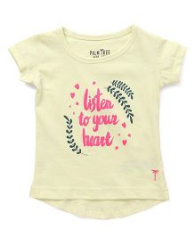 Palm Tree Half Sleeves T-Shirt Listen To Your Heart Print - Light Yellow