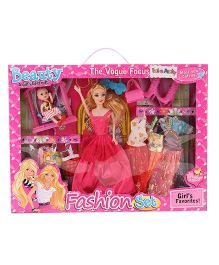 Doll With Fashion Set Fuchsia And Multi Color - Height 28 cm