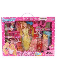 Doll With Fashion Set Yellow And Multi Color - Height 28 cm