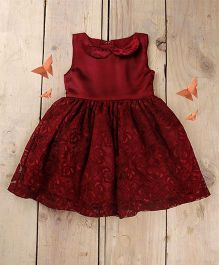 Tiny Toddler Satin Lace With Peter Pan Collar Dress - Maroon