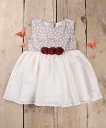 Tiny Toddler Retro Princess Polka Dot & Roses Dress - Grey