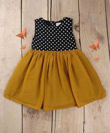 Tiny Toddler Retro Princess Polka Dots & Ochre Dress - Black & Mustard