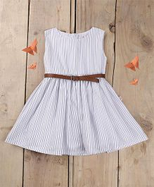 Tiny Toddler Summer Striped Dress With Belt - White