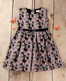 Tiny Toddler Summer Floral Dress With Black Glossy Belt - Black