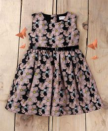 Tiny Toddler Summer Floral Dress With Black Glossy Belt - Black
