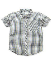 Babyhug Half Sleeves Shirt Checks Print - Blue Yellow