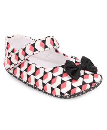 Jute Baby Printed Booties With Bow - Multi Color
