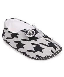 Jute Baby Booties Hounds Tooth Print - Black White