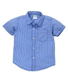 Babyhug Half Sleeves Shirt Checks Print - Blue