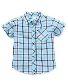 Babyhug Half Sleeves Shirt Checks Print - Blue