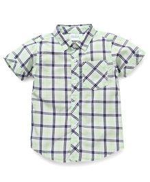 Babyhug Half Sleeves Shirt Checks Print - Green
