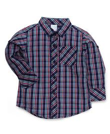 Babyhug Full Sleeves Checks Shirt - Red & Navy Blue