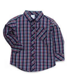 Babyhug Full Sleeves Checks Shirt - Red & Navy Blue