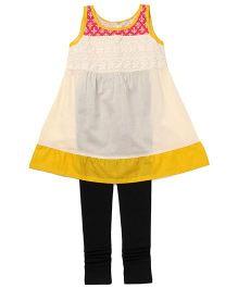 Alpna Kids Indo Western Printed Tunic & Leggings - Cream