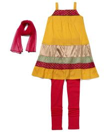 AlpnaKids 2 Piece Set Kurta & Tights - Mustard & Pink
