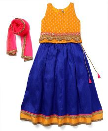 AlpnaKids Lehenga With Floral Lace Choli & Dupatta - Royal Blue & Yellow