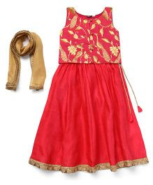 AlpnaKids Lehenga With Floral Choli & Dupatta - Scarlet Red