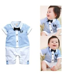 Dells World Striped Shirt Style Romper With Bow - Blue & White