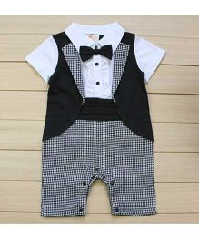 Dells World Jacket Attached Gingham Romper With A Bow - Grey White & Black
