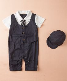 Dells World Jacket Attached Romper With A Tie - Grey & White
