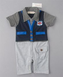 Pre Order - Dells World Semi Checkered Jacket Attached Romper - Grey & Blue