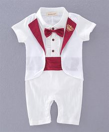 Dells World Romper With Attached Bow & Broach - White
