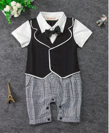 Pre Order - Dells World Contrast Jacket Attached Romper With Bow - White Grey & Black