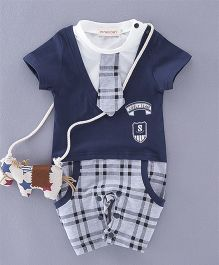 Dells World Jacket Attached Checkered Romper With Tie - Blue & Grey