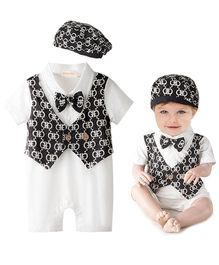 Dells World Alpha Printed Attached Jacket Romper With Bow - Black & White