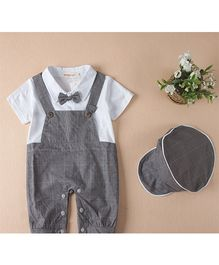 Dells World Dungaree Style Romper With Bow - Grey & White