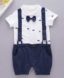 Dells World Boat Printed Dungaree Style Romper With Bow - White & Blue