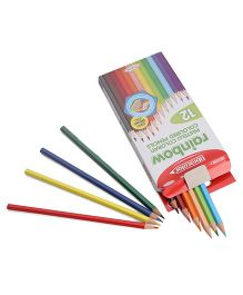 Fibracolor Rainbow Colors Triangular Shaped Color Pencils - Pack of 12
