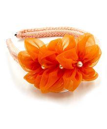 Magic Needles Handmade Flower & Pearl Applique Hairband - Orange