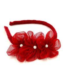 Magic Needles Handmade Flowers Hairband - Red