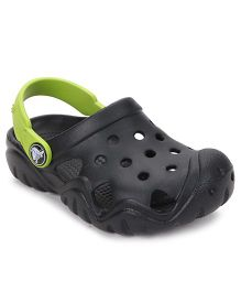 Crocs Clogs With Back Strap - Black Green