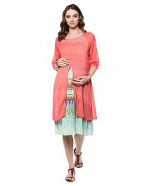 Mine4Nine Three Fourth Sleeves Chevron Print Layered Maternity Dress - Peach Green