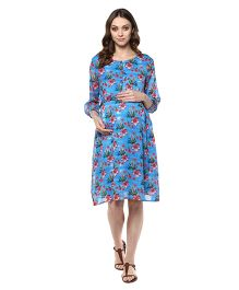 Mine4Nine Three Fourth Sleeves Maternity Dress Printed - Blue