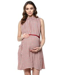 Mine4Nine Sleeveless Checks Maternity Dress - Red White