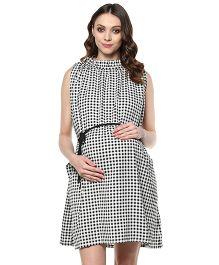 Mine4Nine Sleeveless Checks Maternity Dress - Black White
