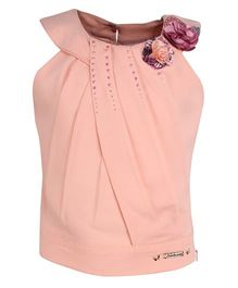 Cutecumber Sleeveless Party Wear Top Rhinestone Embellishment - Peach