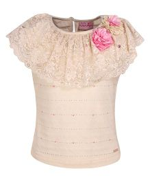 Cutecumber Party Wear Top With Floral Motif - Cream