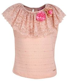 Cutecumber Party Wear Top With Floral Motif - Peach